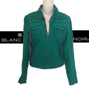 blanc noir Jackets & Coats - Blanc Noir Vegan Knit ZIP Detail Moto Jacket